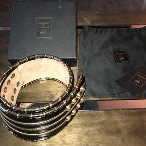 Balmain x HM Black Patent Leather Belt Rare M/L Wi